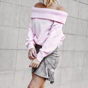 Sweaters - H&M Pink Off the Shoulder Sweater